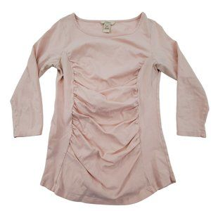 Sundance Top S Ruched Pink 3/4 Sleeve Blouse Tee S
